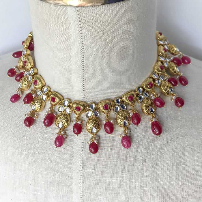 Triple Stones & Beads, Necklace Sets - THE KUNDAN SHOP