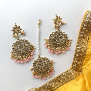 Shining Bright - Pink, Earrings + Tikka - THE KUNDAN SHOP