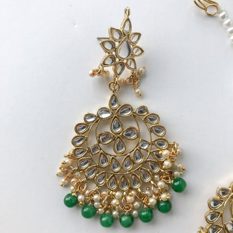 Shining Bright - Green, Earrings + Tikka - THE KUNDAN SHOP