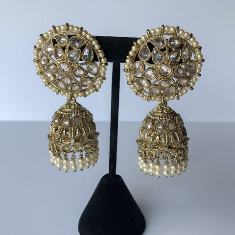 Surrounded in Pearls Polki Jumki, Earrings + Tikka - THE KUNDAN SHOP