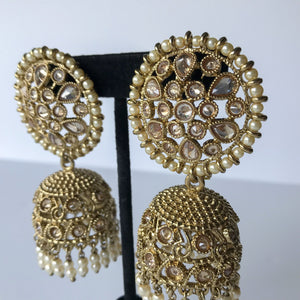 Oversized Pearl Polki Jumki, Earrings + Tikka - THE KUNDAN SHOP