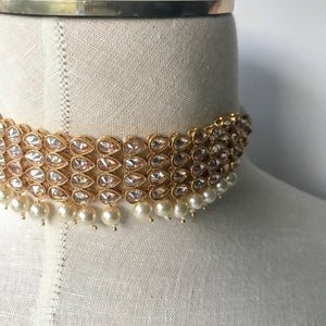 Rose Gold Polki Choker,  - THE KUNDAN SHOP