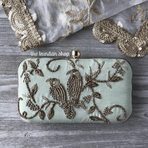 Inseparable in Mint, Clutch - THE KUNDAN SHOP