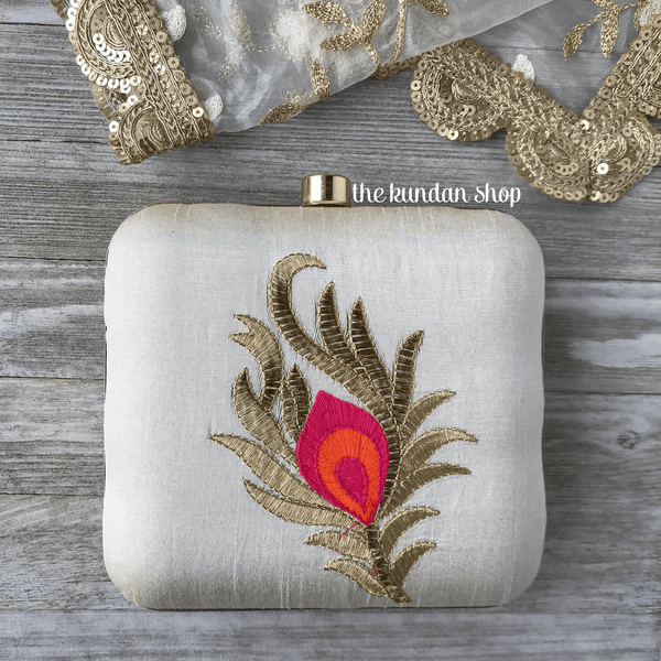 Pink Feather, Clutch - THE KUNDAN SHOP