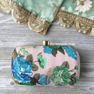 Blue Petal, Clutch - THE KUNDAN SHOP
