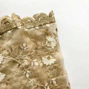 Tan-Gold Organza Dupatta, Dupatta - THE KUNDAN SHOP