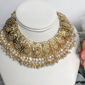 Gleaming in Pearls - Jadau Set, Necklace Sets - THE KUNDAN SHOP