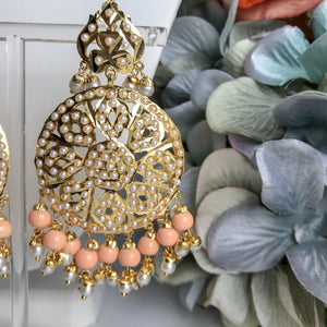 Pearl & Peach - Jadau Set, Necklace Sets - THE KUNDAN SHOP