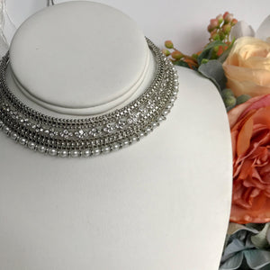 Round Stud Necklace Set - Silver, Necklace Sets - THE KUNDAN SHOP