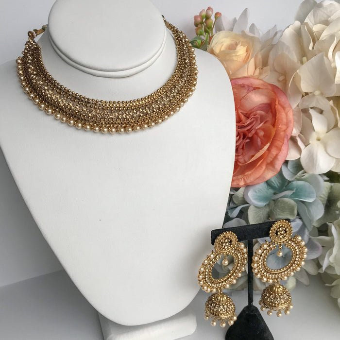 Bring Home the Gold - Champagne Pearl Set, Necklace Sets - THE KUNDAN SHOP