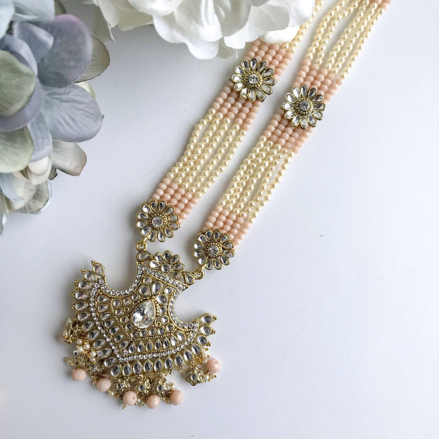 Peach Pendant, Necklace Sets - THE KUNDAN SHOP
