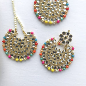 Multi-Colour Oversize Tikka Set, Earrings + Tikka - THE KUNDAN SHOP