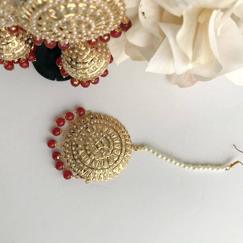 Jadau Round Jumki Set - Ruby, Jadau - THE KUNDAN SHOP