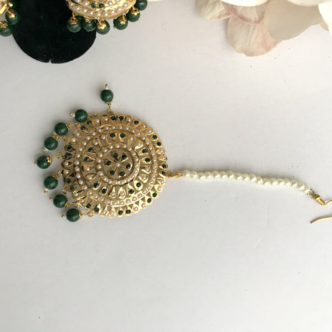 Jadau Round Jumki Set - Green, Jadau - THE KUNDAN SHOP