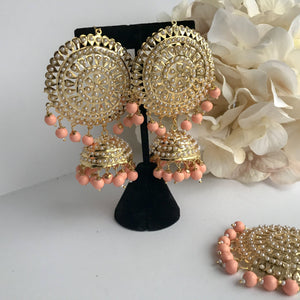 Jadau Round Jumki Set - Peach, Earrings + Tikka - THE KUNDAN SHOP