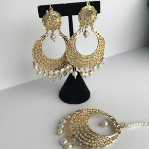 Gold & Pearl Jadau Set, Earrings + Tikka - THE KUNDAN SHOP
