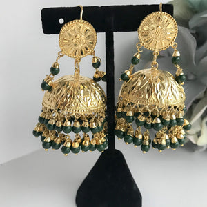 Traditional Jumki Earring & Tikka - Green, Earrings + Tikka - THE KUNDAN SHOP