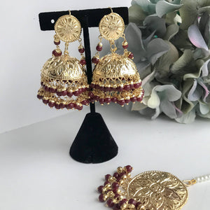 Traditional Jumki Earring & Tikka - Ruby, Earrings + Tikka - THE KUNDAN SHOP