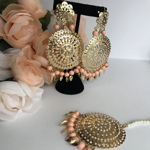 Round Jadau Set - Peach, Jadau - THE KUNDAN SHOP