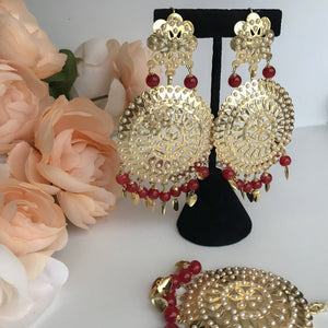 Round Jadau Set - Ruby, Earrings + Tikka - THE KUNDAN SHOP