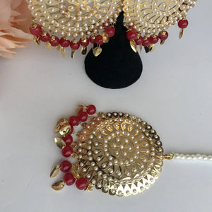 Round Jadau Set - Ruby, Jadau - THE KUNDAN SHOP
