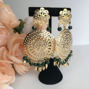 Round Jadau Set - Green, Jadau - THE KUNDAN SHOP