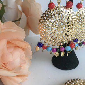 Round Jadau Set - Multi, Earrings + Tikka - THE KUNDAN SHOP