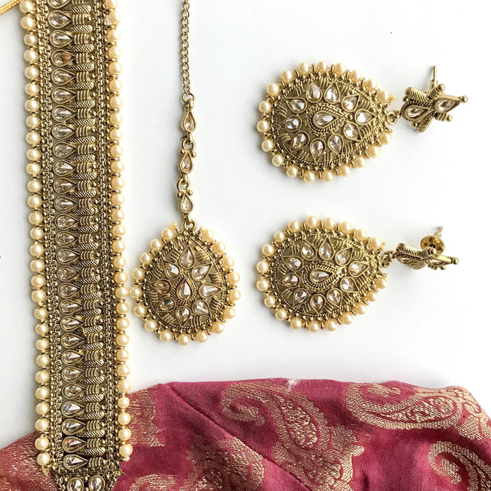 Raindrop Polki Choker & Earrings, Necklace Sets - THE KUNDAN SHOP