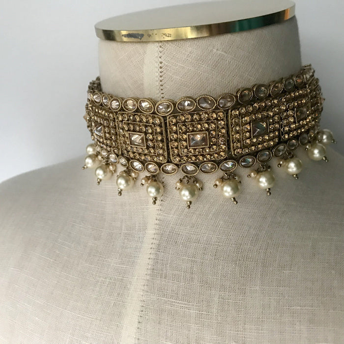 Mainstream Polki Choker Set, Necklace Sets - THE KUNDAN SHOP