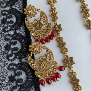 Ruby Flowers - Raani Haar Set Necklace Sets THE KUNDAN SHOP