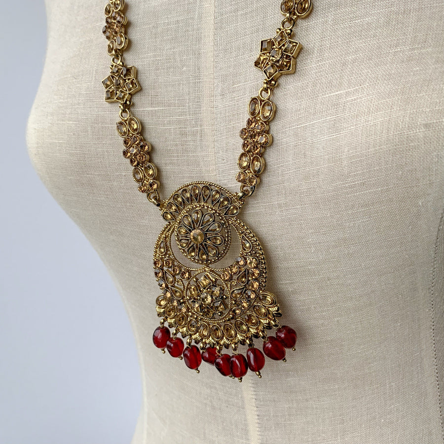 Ruby Flowers - Raani Haar Set, Necklace Sets - THE KUNDAN SHOP