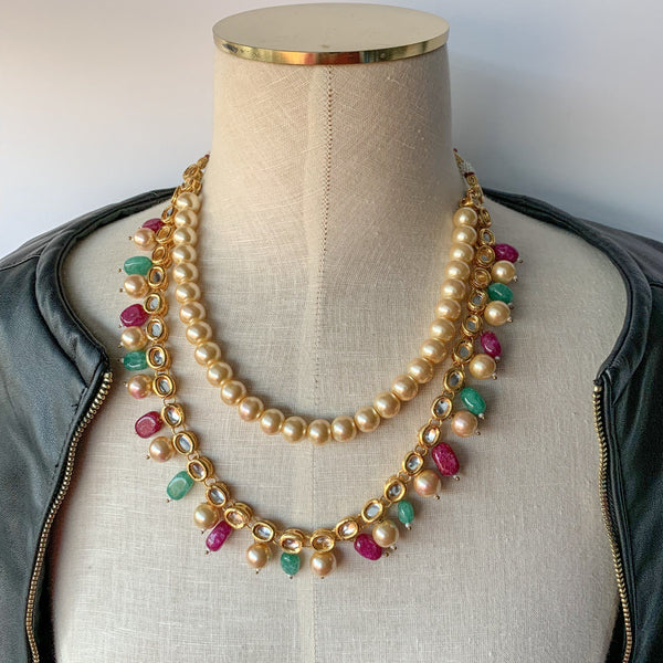 Precious Kundan & Meenakari - Green & Pink, Necklace Sets - THE KUNDAN SHOP