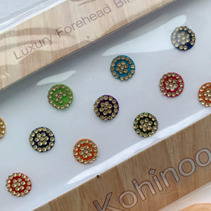 15 PC Gold Rhinestone Bindi, Bindis - THE KUNDAN SHOP