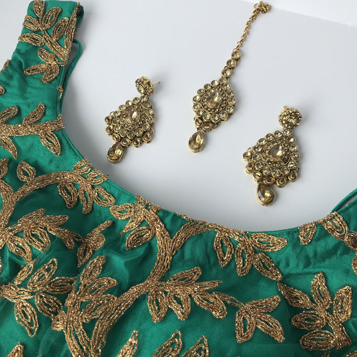 Champagne brown, Earrings + Tikka - THE KUNDAN SHOP