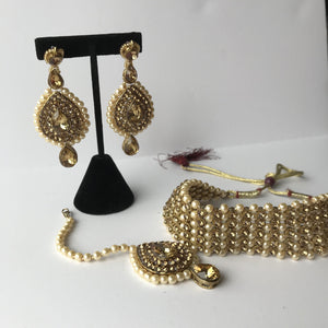 Bronze Goddess Choker Set, Necklace Sets - THE KUNDAN SHOP