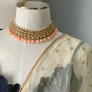 Bronze Goddess in Peach, Necklace Sets - THE KUNDAN SHOP