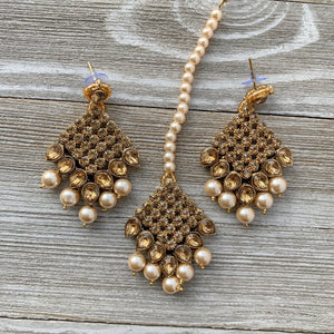 Bronze Goddess in Champagne, Necklace Sets - THE KUNDAN SHOP