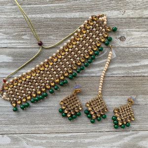 Bronze Goddess in Green, Necklace Sets - THE KUNDAN SHOP