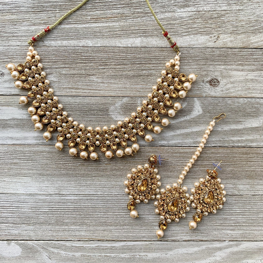 Thin Bronze Goddess in Champagne, Necklace Sets - THE KUNDAN SHOP