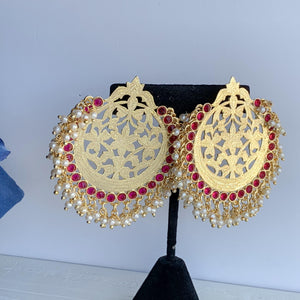 Statement Gold in Pink, Earrings + Tikka - THE KUNDAN SHOP