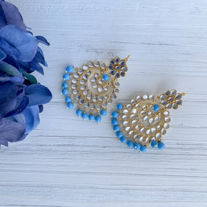 Blue Perfection, Earrings + Tikka - THE KUNDAN SHOP
