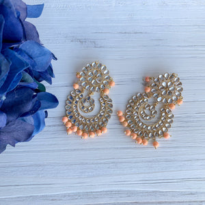 Peach Perfection Earrings Earrings + Tikka THE KUNDAN SHOP Light Peach