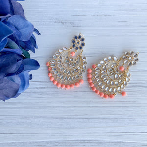 Peach Perfection Earrings Earrings + Tikka THE KUNDAN SHOP Bright Peach