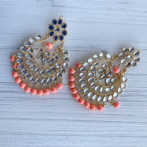 Peach Perfection Earrings, Earrings + Tikka - THE KUNDAN SHOP
