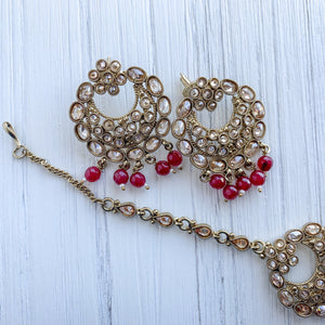 Ruby Earrings & Tikka, Earrings + Tikka - THE KUNDAN SHOP
