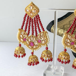 Ruby Trio, Earrings - THE KUNDAN SHOP