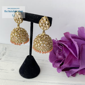 Center of Attention - Peach, Earrings - THE KUNDAN SHOP