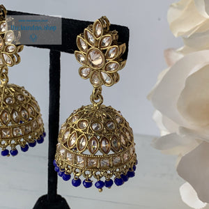 Center of Attention - Blue, Earrings - THE KUNDAN SHOP