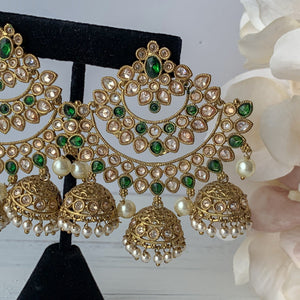 Whisper Green, Earrings - THE KUNDAN SHOP