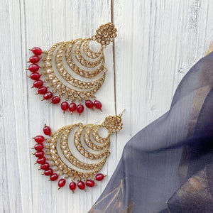 Sunset Earrings - Ruby, Earrings - THE KUNDAN SHOP